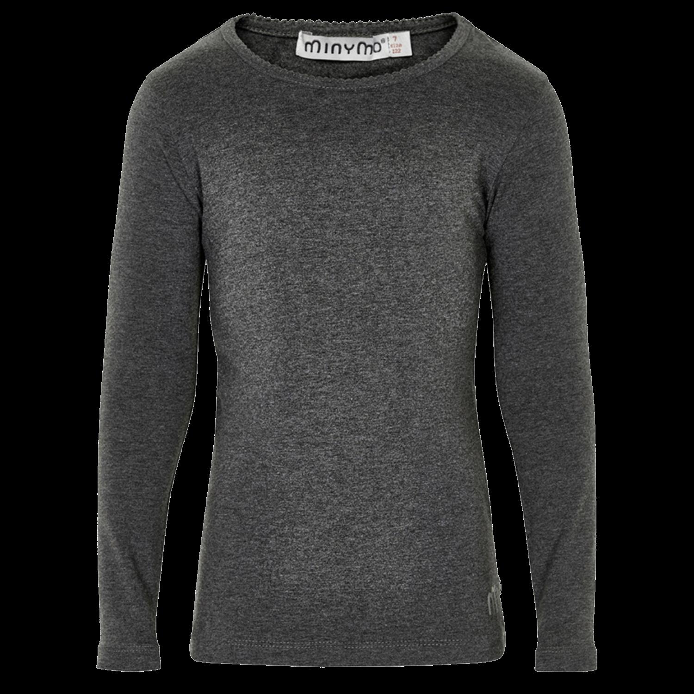 Minymo – langærmet pige t-shirt – Mørkegrå