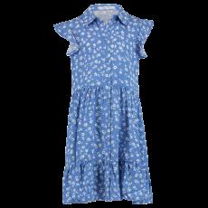Hailys - Pige kjole m. kort flæse ærmer. - Blå