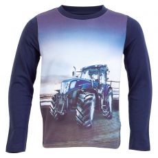 Me too - T-shirt med traktor print - Navy
