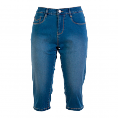 Steenholt Female+ - Plus size grace 3/4 stretch denim shorts - Blå