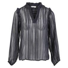ChaCha - Langærmet mesh bluse - Sort