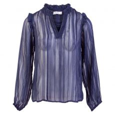 ZbyZ - +Size langærmet mesh bluse - Navy