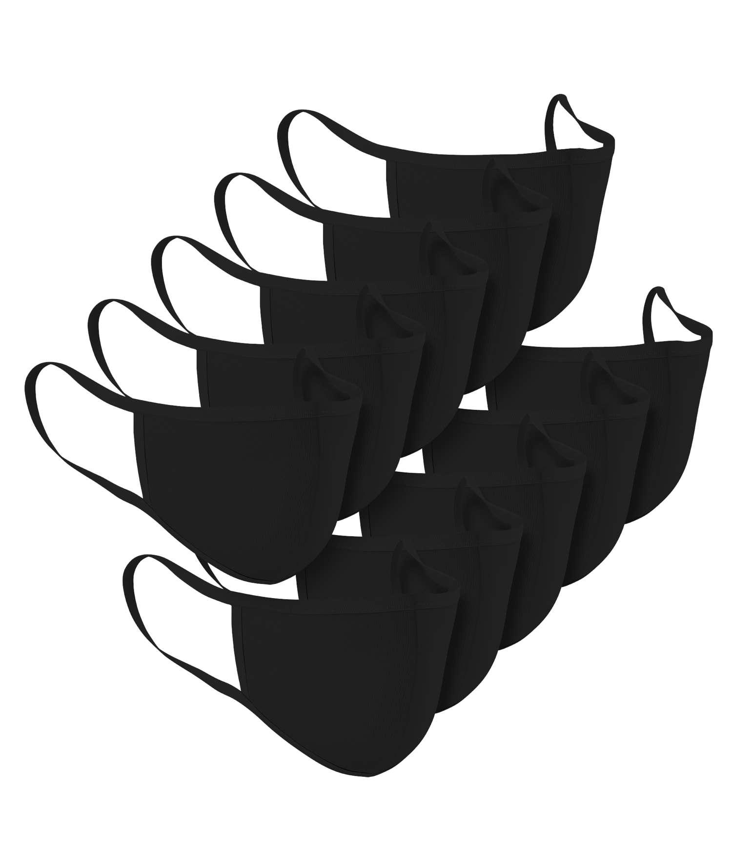 Denim project - 10-pak stof mundbind - Sort - Størrelse One size
